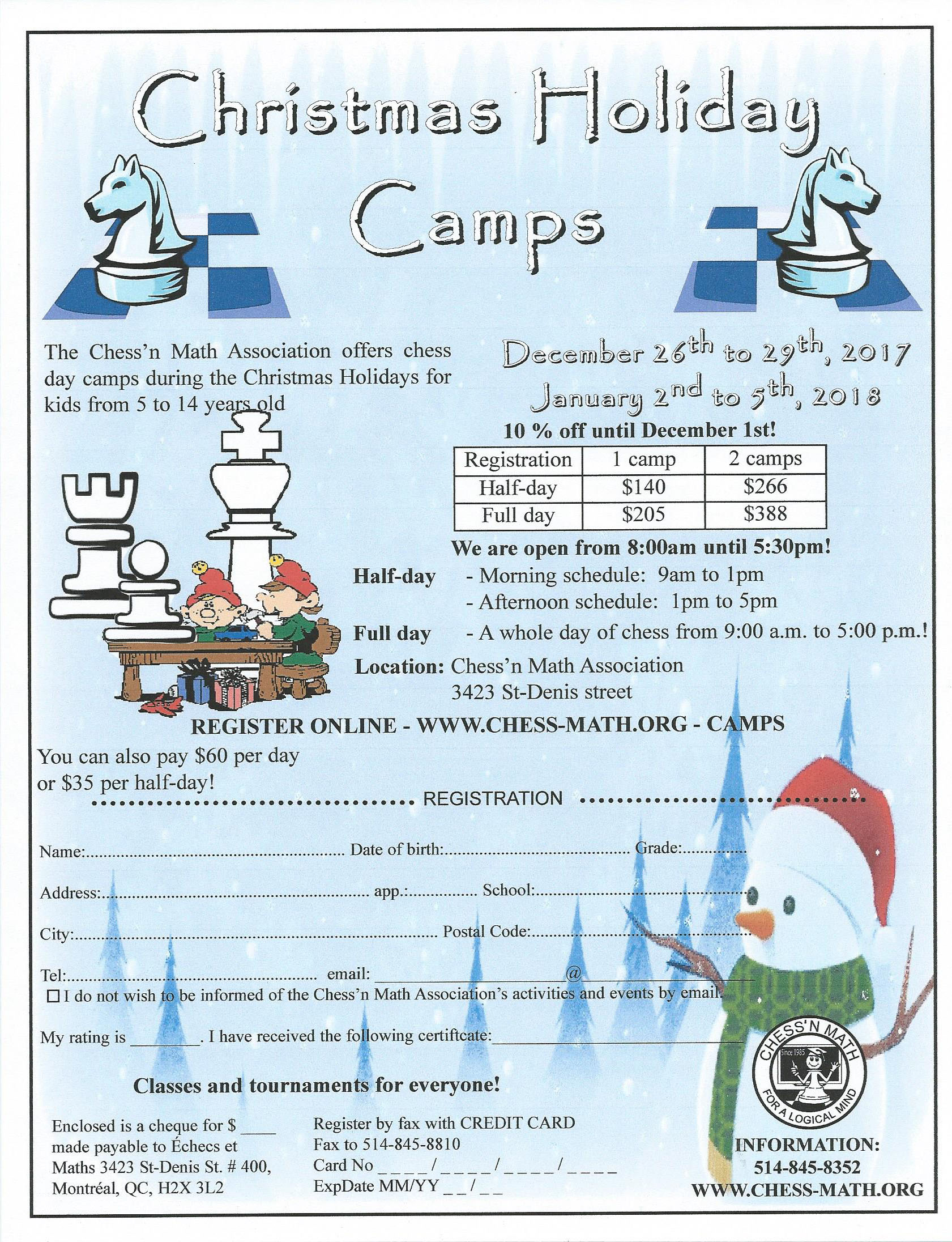 Christmas Holiday Camps | Chess\'n Math Association