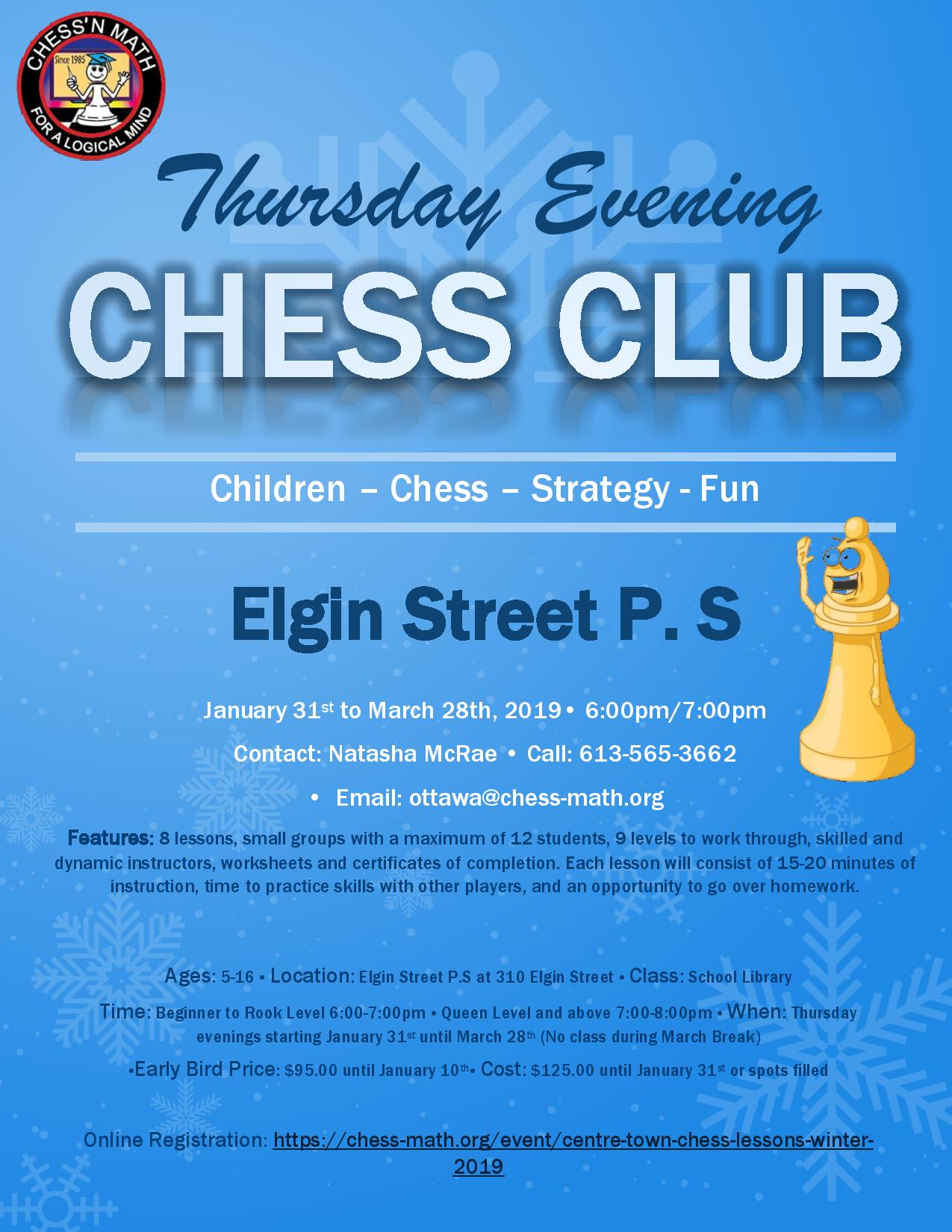 Centretown Chess Club Winter 2019 Elgin Street