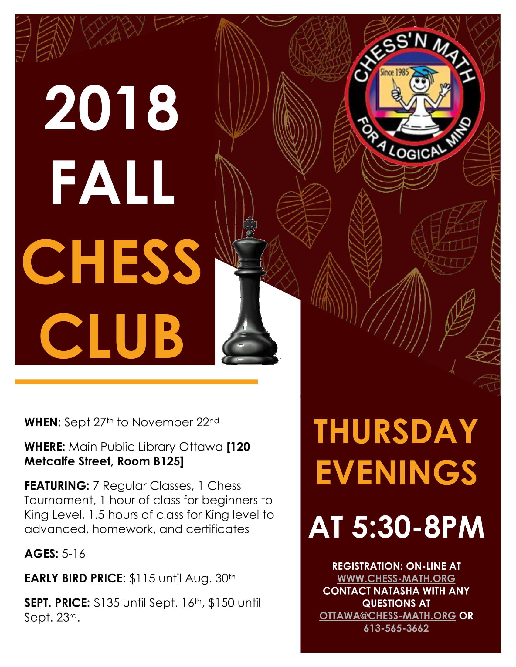 Thursday Evening Chess Club Fall 2018